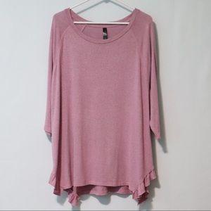 Lane Bryant 18/20 pink gray ruffle plush blouse